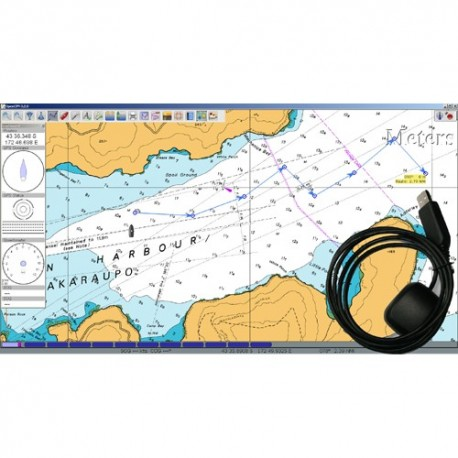 USB GPS Receiver complete with Chartplotter S/W and LINZ marine charts